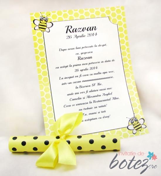 Invitatie De Botez Pergament Cu Albinute Invitatii De Botez