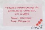 Card de confirmare roz cu inimioare si floricele Sweet Pink