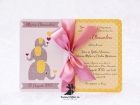 Invitatie de botez Baby Pink Elephant