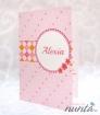 Invitatie de botez roz cu chenar si floricele Sweet Pink