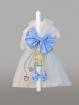 Lumanare pentru botez cu fundite bleu si print
