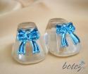 Marturie de botez botosei din sticla cu funda bleu