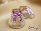 Marturie de botez botosei din sticla cu funda roz