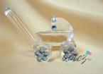Marturie de botez carucior din sticla cu ornamente bleu