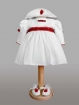 Set rochita alb-rosu cu palariuta si botosei