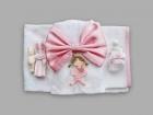 Trusou pentru botez cu balerina si funda roz