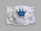 Trusou pentru botez cu funda alba si coroana Little Prince
