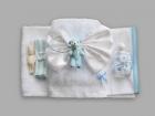 Trusou pentru botez cu funda alba si ursulet bleu