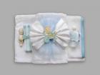 Trusou pentru botez cu funda bleu si bebe in carucior
