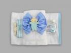 Trusou pentru botez cu funda si bebelus cu suzeta bleu