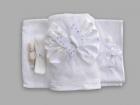 Trusou pentru botez cu funda si brosa fluturas alb