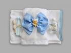 Trusou pentru botez cu fundita bleu si bebelus