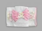 Trusou pentru botez cu fundita si bebelus cu suzeta roz