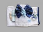 Trusou pentru botez cu ursuleti bleu si funda albastra